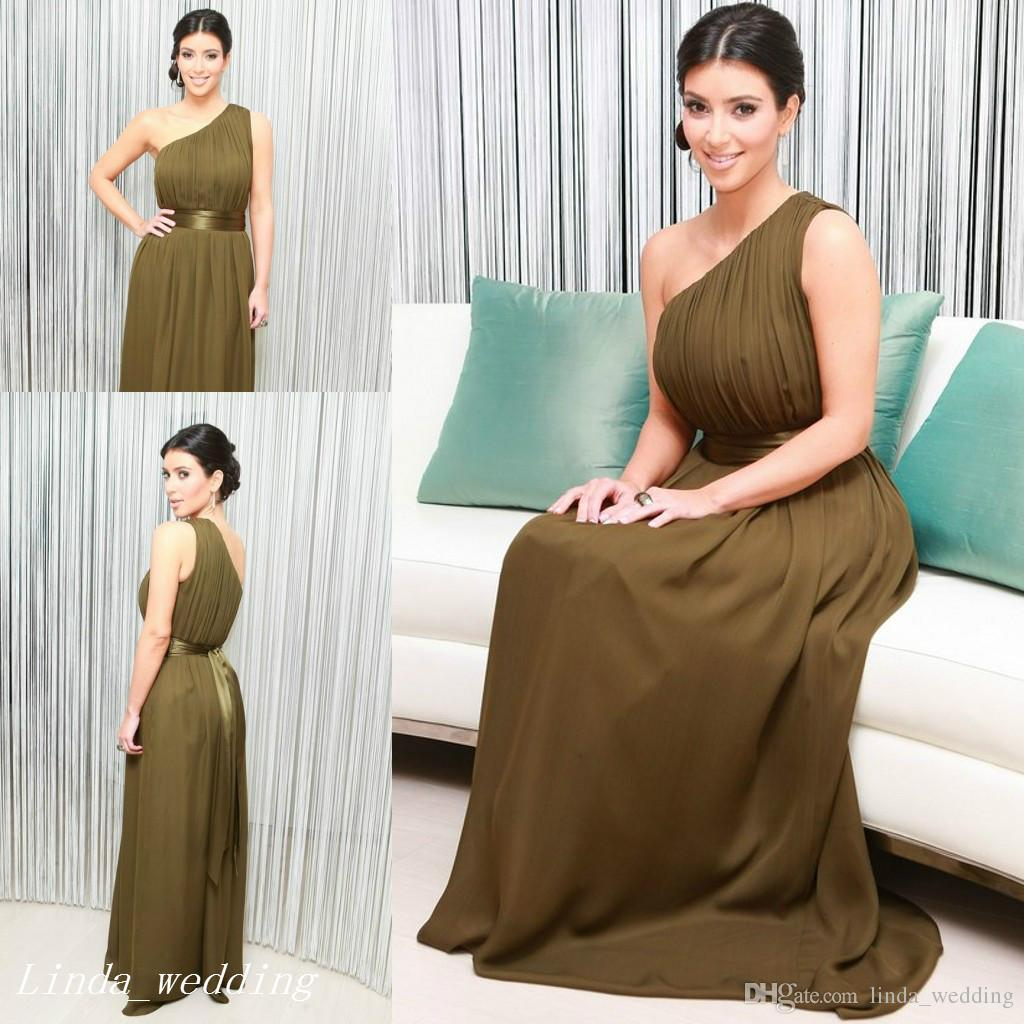 Kim Kardashian Olive Green Evening Dress High Quality One Shoulder