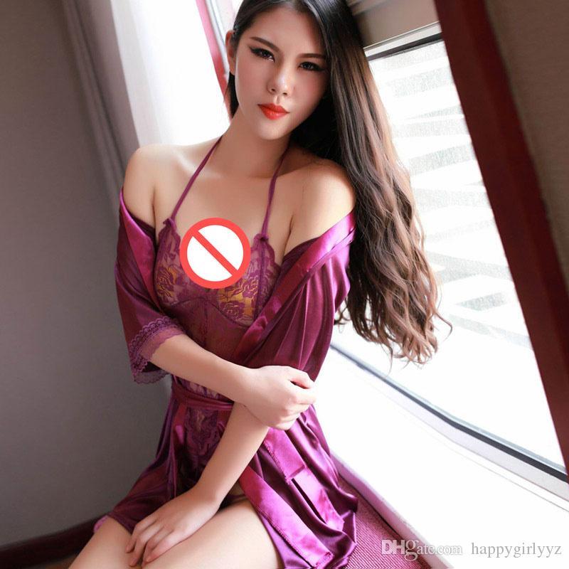 635dd2d4e9 Women S Sexy Lingerie Nightwear Bathrobe +The Belt +T Pants+ Lace Hang Neck  Conjoined Underwear Sleepwear Nightgown Robe Kimono Set Hot Sale Bra Panty  Sets ...