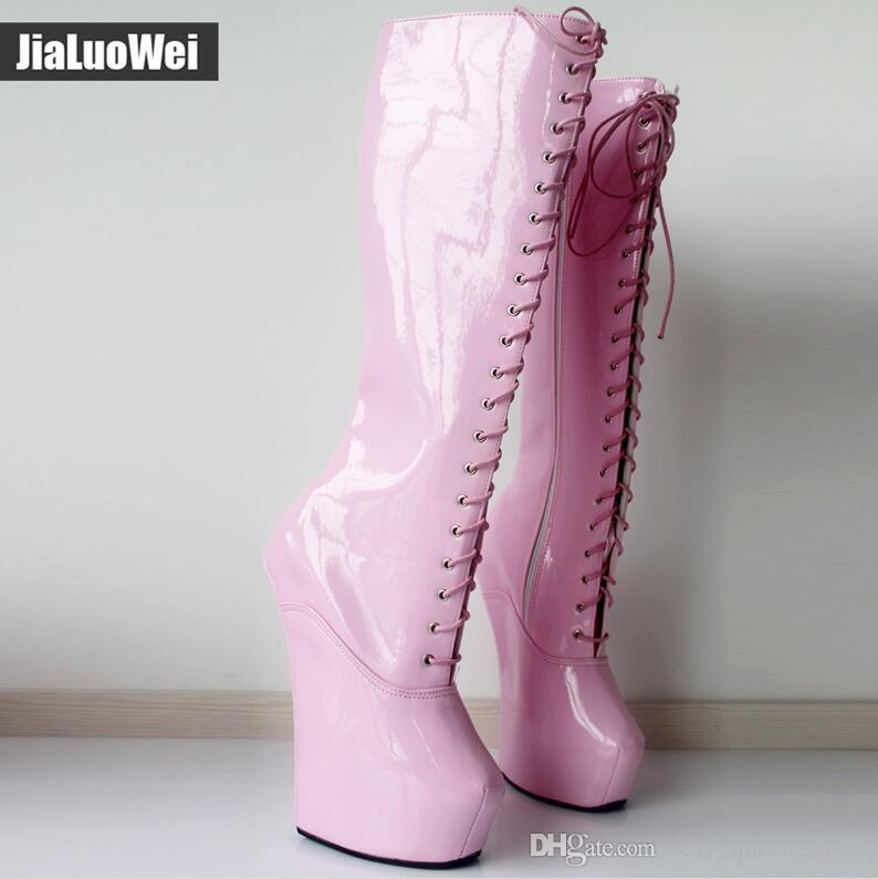 Compre Nuevos 20cm Zapatos De Tacón Alto 5 Cm Fetiche De Plataforma Botas  Altas De Rodilla Sexy Cubrezapata Sin Tachuelas Cruzadas Caballo Semental  De Color ... 466d9ec0302f3