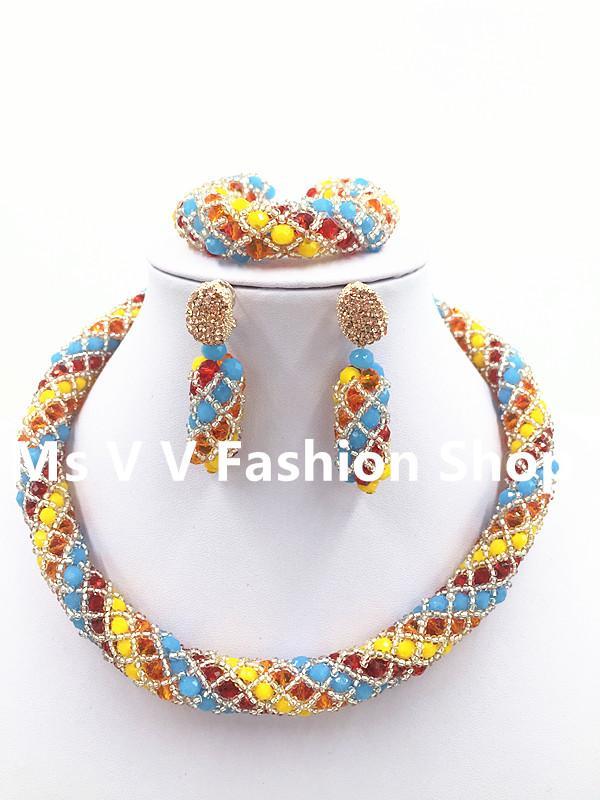 2019 new arrival black white Women Birthday Gift Crystal Jewelry Set Handmade ball Choker Nigerian Wedding Necklace Set