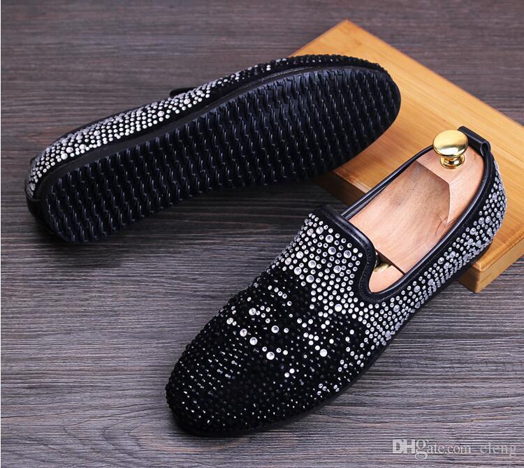 Neue Designer-Marke Müßiggänger Strass Slip-on Herren Wohnungen Rauchen Hausschuhe handgefertigte Kleid formelle Schuhe Luxus Party und Hochzeit Schuhe cc71