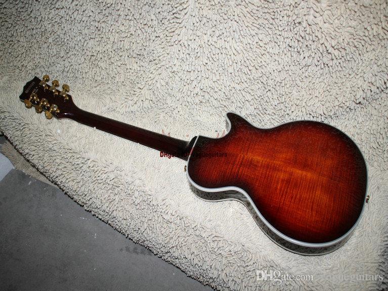 전자 기타 블랙 체리 중공 체 기타 왼손잡이 기타 송료 무료