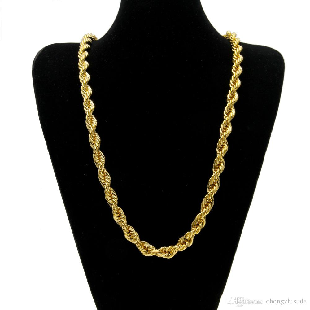 10mm Thick 76cm Long Rope Twisted Chain 24K Gold Plated Hip hop Heavy Necklace For mens