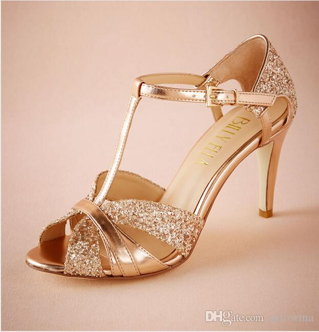 b2ee937339bd 2016 Fashion Gold Bridal Wedding Shoes Buckle Strap T Strap Sequined Peep  Toe Summer Style Ladies Party Shoes Cheap Modest Hot Sale Shoes Dyeable  Bridal ...
