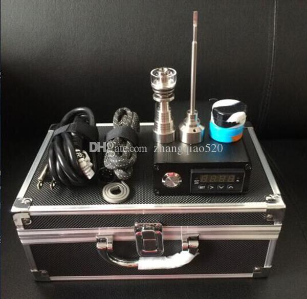 Hot selling D-nail Kit with Upgrade Ti/Qtz hybrid nails Fit flat 10mm&16mm&20mm heater coils WAX oil D nail E-nail Temperature control box