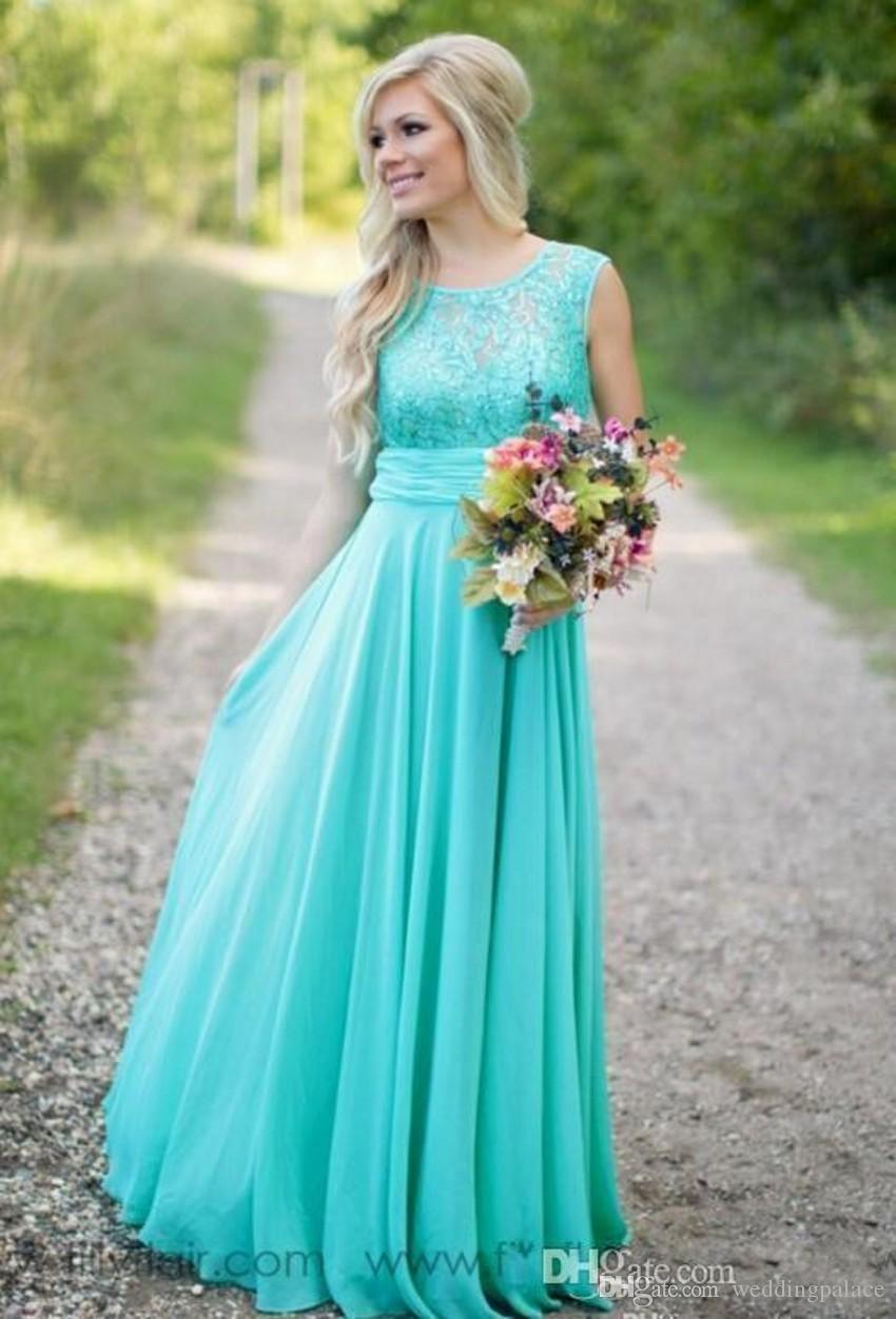 2018 New Arrival Turquoise Bridesmaid Dresses Cheap Scoop Neckline Chiffon Floor Length Lace V Backless Long Bridesmaid Dresses for Wedding