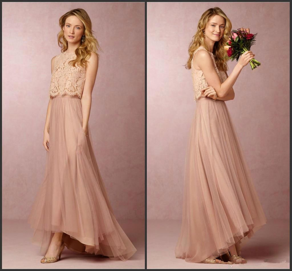 Baby pink boho two pieces bridesmaid dresses lace top high low see larger image ombrellifo Images
