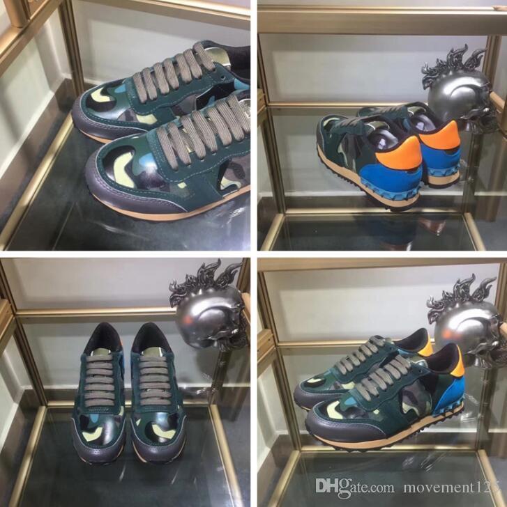 2017 Mükemmel Kaya Koşucu Kamuflaj Deri Sneakers Ayakkabı Erkekler, Kadınlar Lüks Stil Kaya Çiviler Açık CAMUSTARS Eğitmenler Rahat AYAKKABı 36-46