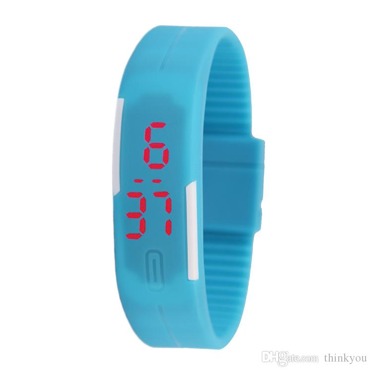 Simple Style Candy Color Rectangle Kid Watch Soft Silicone LED Digital Outdoor Sport Watch Casual Mini Bracelet Watch for Man Woman