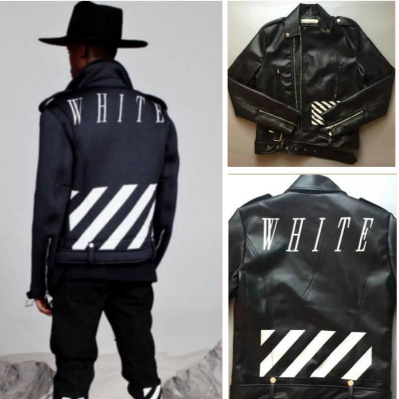 Off white jacket men locomotive style men slim fit leather for Mens white leather shirt