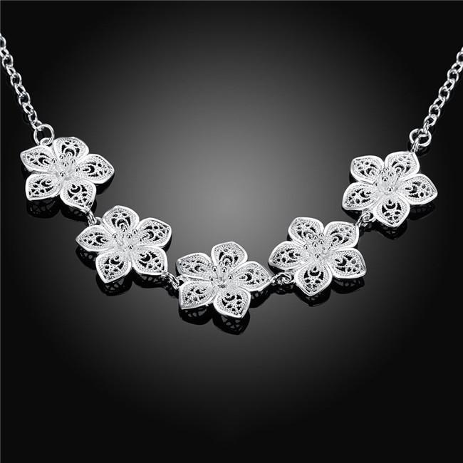 Vente chaude Collier fleur en argent sterling collier plaqué STSN336, mode gros argent 925 chaînes collier vente directe d'usine de Noël