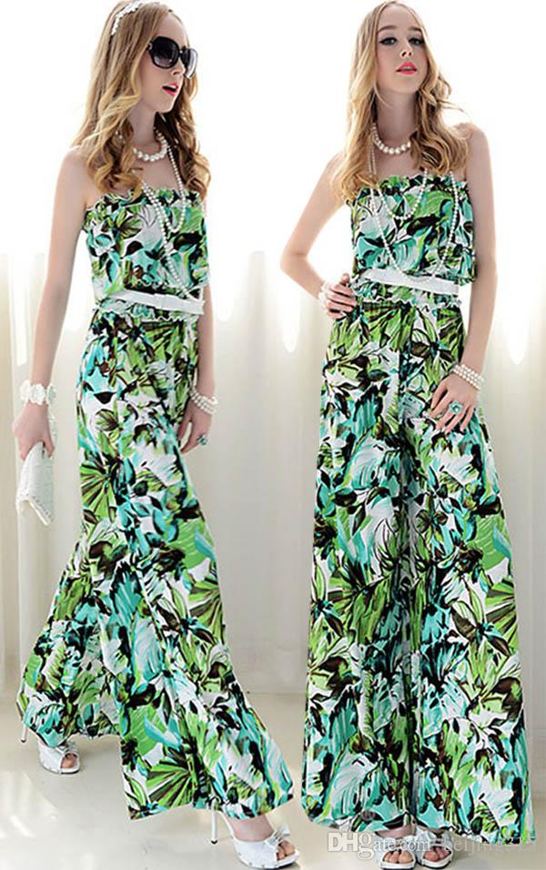 ded8d0873bc Summer Plus Size Women Sexy Strapless Loose Dress Pants Jumpsuits ...