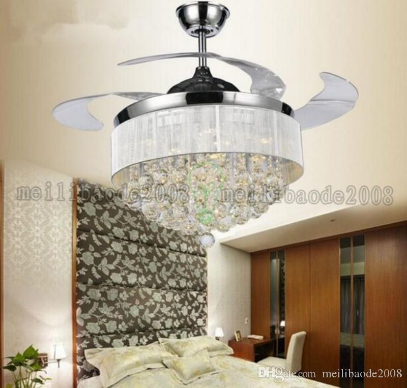 Led Ceiling Fans Light 110-240V Invisible Blades Ceiling Fans Modern Fan Lamp Living Room European Chandelier Ceiling Light 36 / 42 Inche MY