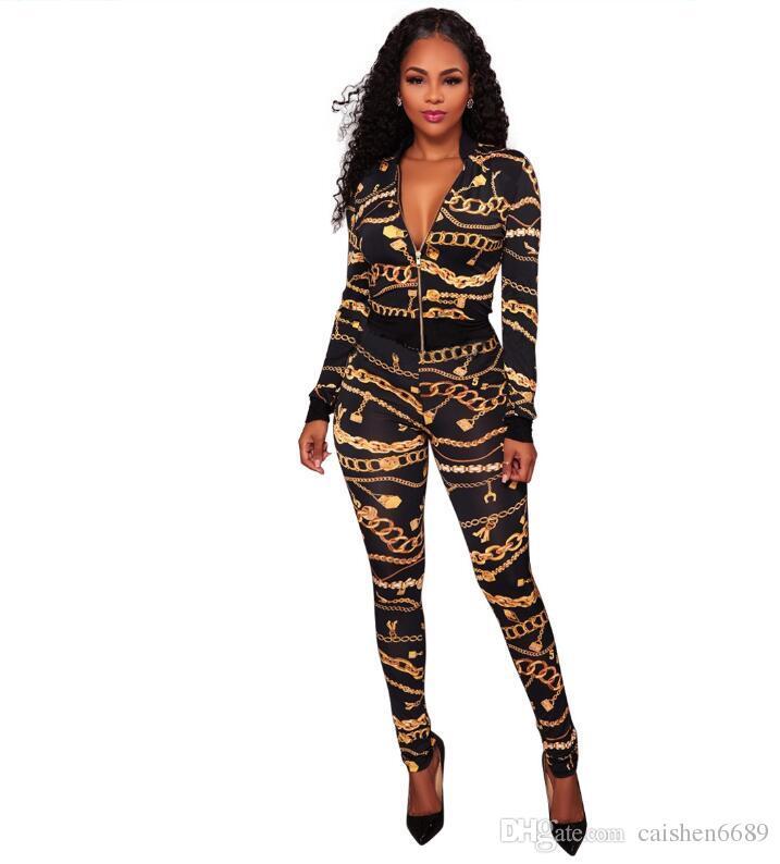 ea69d173ad 2018 Spring Women Tops Jacket Pants 2 Piece Set Gold Chain Print Tracksuit  Female Sportive Outfit Suit Crop Top Zipper Sweatsuit