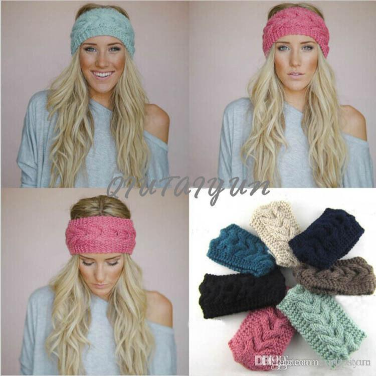 Women s Fashion Wool Crochet Headband Knit Hair Band Flower Winter ... f07e2faaa5a