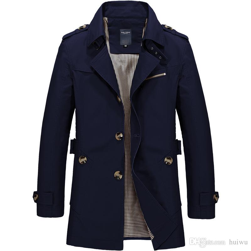 Ücretsiz Kargo Erkek Saf Renk Saf Pamuk Uzun Ceketler Moda erkek Lüks Kış Slim Fit Rahat Trençkot