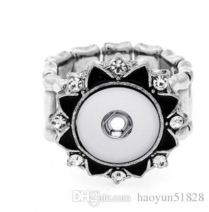 EW Noosa 크리스탈 스냅인 단추 반지 뜨거운 판매 고품질 유행 DIY 금속 조절 가능한 반지 맞는 생강 12MM 스냅 버튼 반지 보석