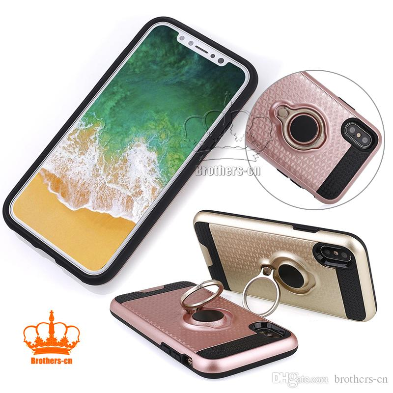 For Iphone 8 Samsung Note 8 Ring Holder Phone Case Magnetic Suction