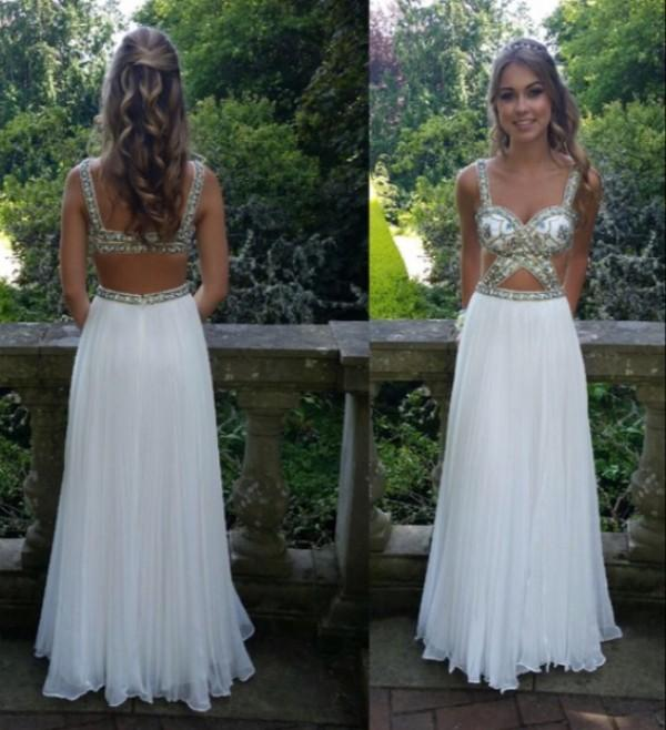 Sexy Cut Out Design Sexy White Prom Dress Open Back Straps Beaded Embellishment Floor Length Evening Party Wear Custom Made Top Quality