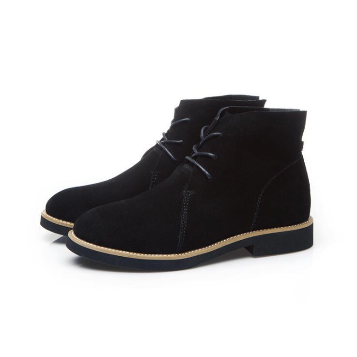 Nuevas mujeres botas de cuero genuino estilo Vintage botines planos de piel de vaca suave zapatos de mujer de encaje hasta botines zapatos mujer