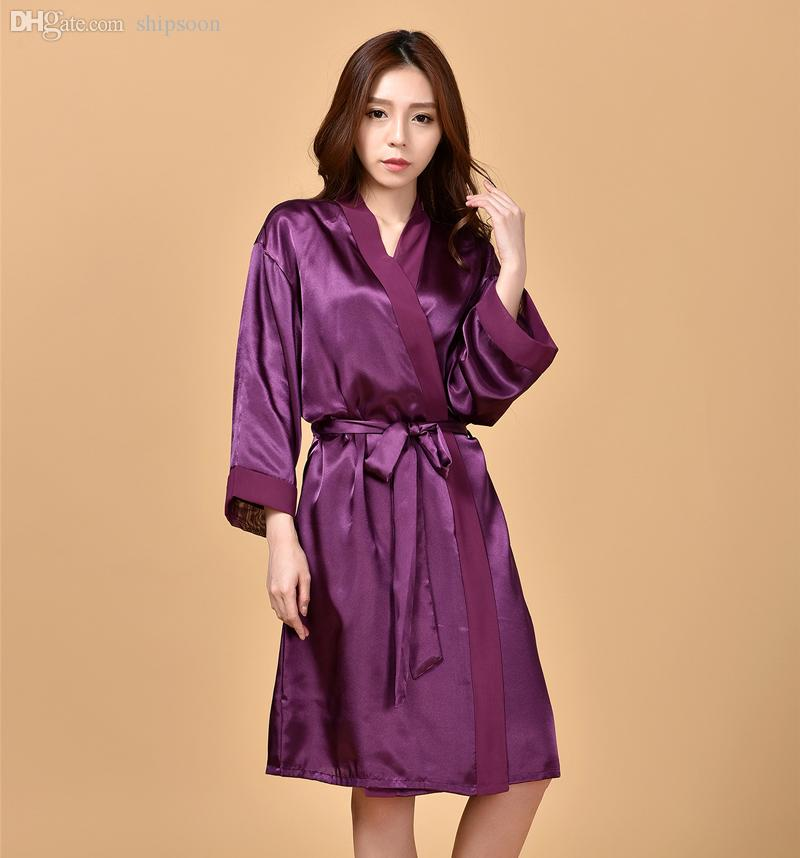d67ac9a2e345 2019 Wholesale Sexy Charming Purple Summer Silk Chiffon Robes New Style  Women S Kimono Bath Gown Lounge Nightgowns Sleepwear One Size NR223 From ...