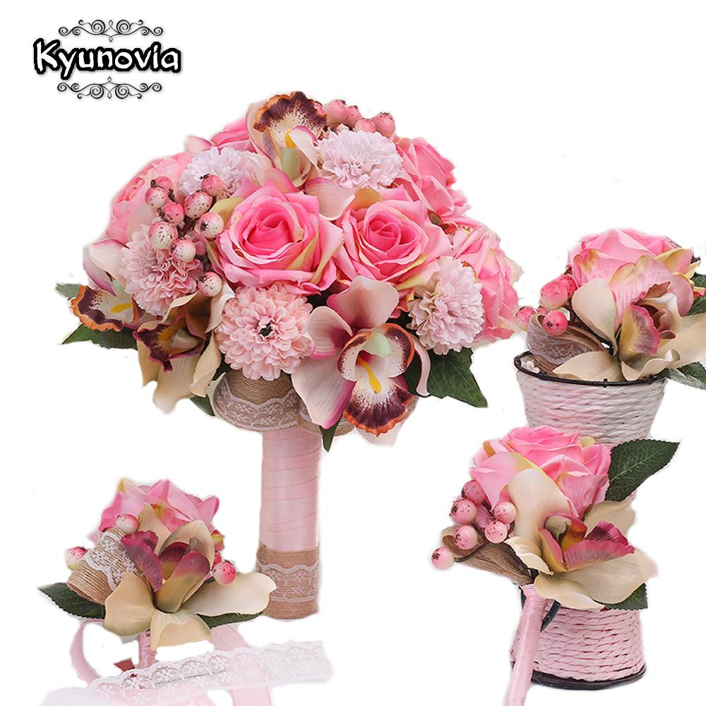 2018 Set Silk Wedding Bouquet Photograph Bridal Bouquet Artificial ...