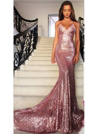 Mermaid Sweetheart Long Shining Bling Sequined Spaghetti Straps Rose Pink party Prom Dress 2019 Custom Made summer beach Evening Gown