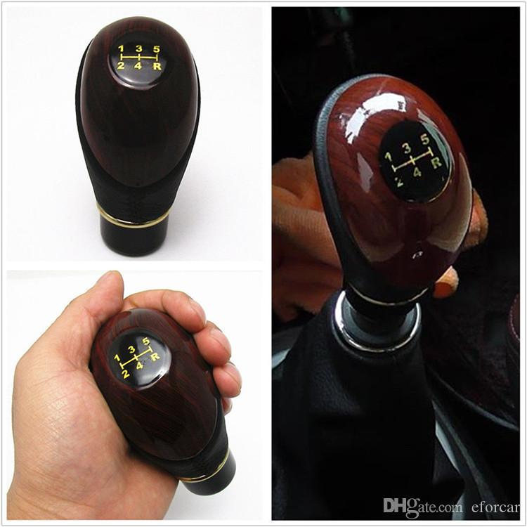 Universal Car SUV Manual 5 Speed Gear Stick Shift Knob Cover Handle Shifter Lever Mahogany