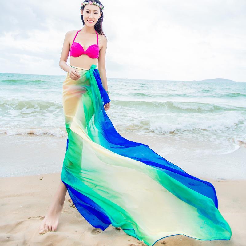 الأوشحة شاطئ صوفية الصيف المرأة طبقتان الشيفون شالات وشاح للأزياء 2018 ملابس السباحة بيكيني التستر هاواي ردائه