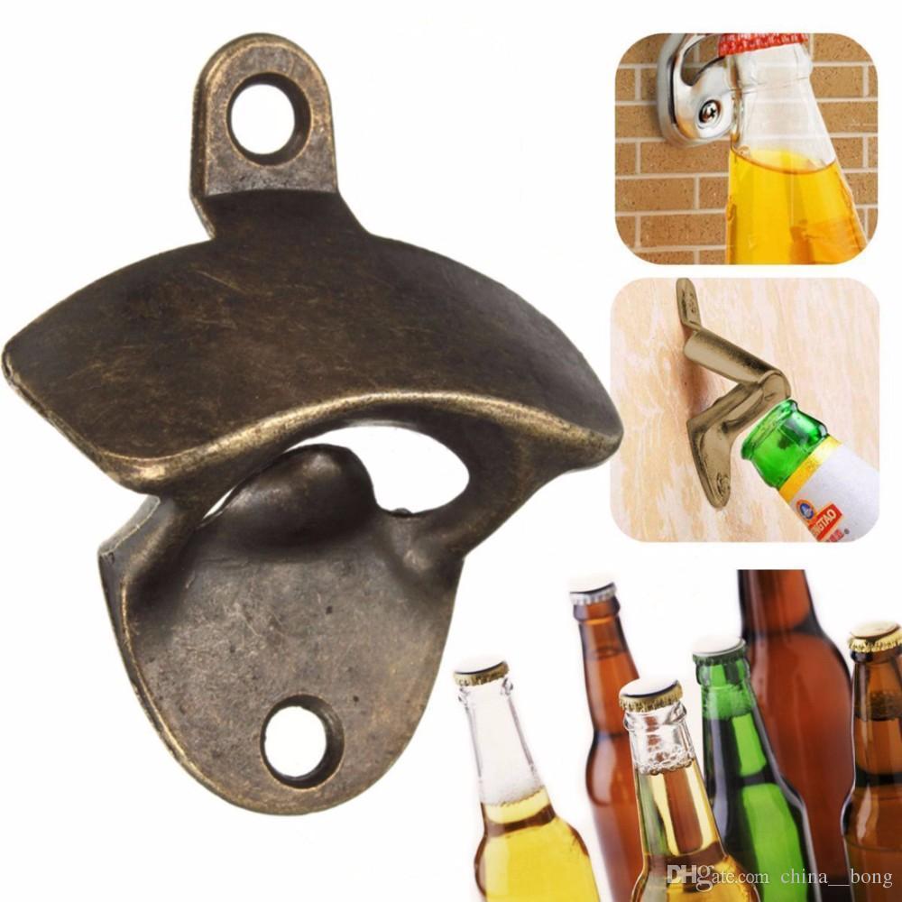 Vintage Bronce Montado en la pared Abridor de cerveza Vino Cerveza Soda Tapa de vidrio Abrebotellas Cocina Bar Regalo DHL / fEDEX / EMS GRATIS