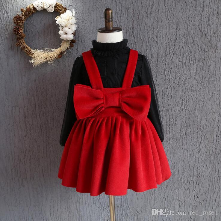 Baby meisjes jurk kerst kids kleding 2017 nieuwe herfst winter jurk Koreaanse mode mouwloze boog prinses jurk feestjurk