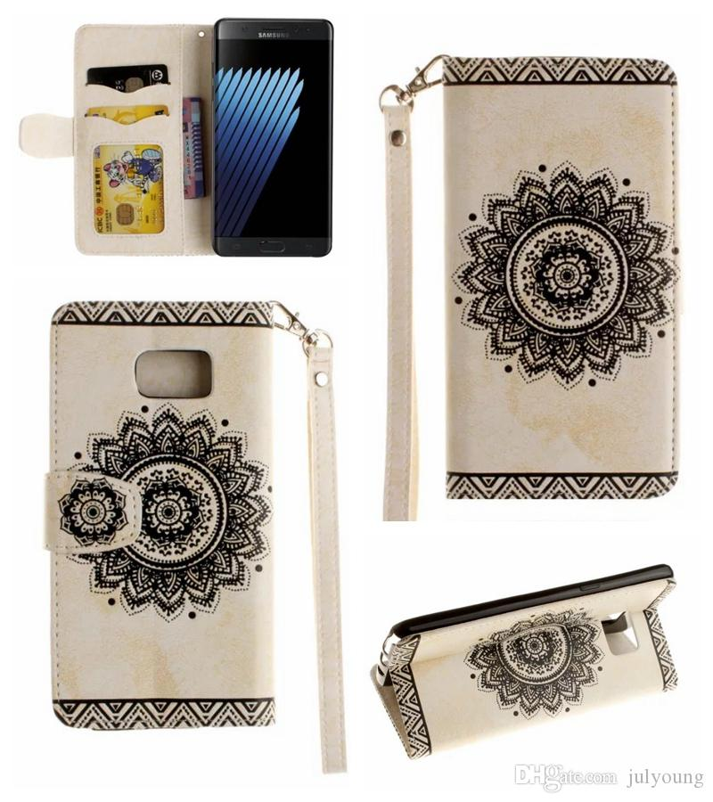 Datura Flower Wallet Leather For iPhone X 8 7 Plus 6 6S Sunflower Flip Cover Stand Fashion Frame Photo Card Slot Case+Strap