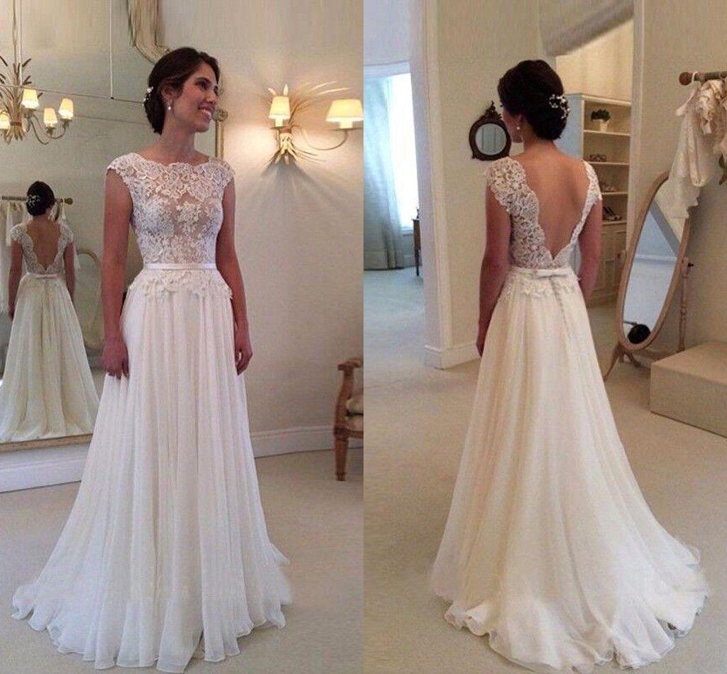 Cheap 2016 Bohemian Lace Cap Sleeves A Line Wedding
