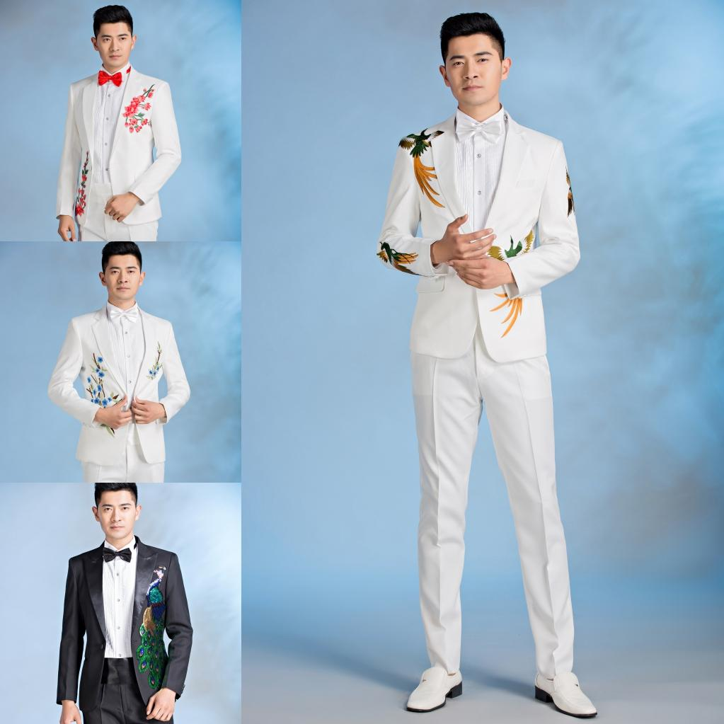 Jacket+pants+tie Male Suit Hosting Dresses Chinese Style Wedding ...