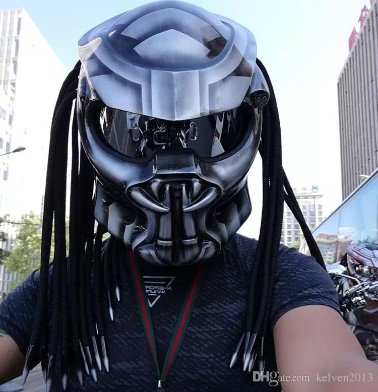 New Coming Predators Mask Carbon Fiberglass Neca Motorcycle Helmet Full Face Iron Man Moto DOT Titanium Grey Green Fiber Helmets