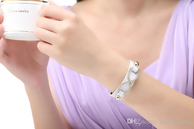 Genuino 18K chapado en oro real rojo cuero infinito pulseras brazaletes con cristal para mujer es al por mayor