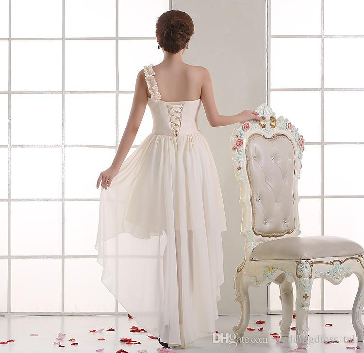 Une épaule plissé en mousseline de soie haute robe de demoiselle d'honneur basse 2018 robe de soirée Champagne dentelle Lace Up Livraison rapide
