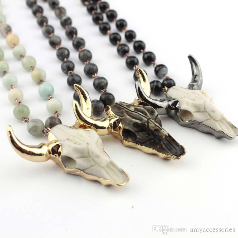 Heißes Selling Amazonit Steine Statement Ketten Handgefertigte Naturstein Ketten Bohemian Tribal Schmuck Horn-Anhänger-Halskette