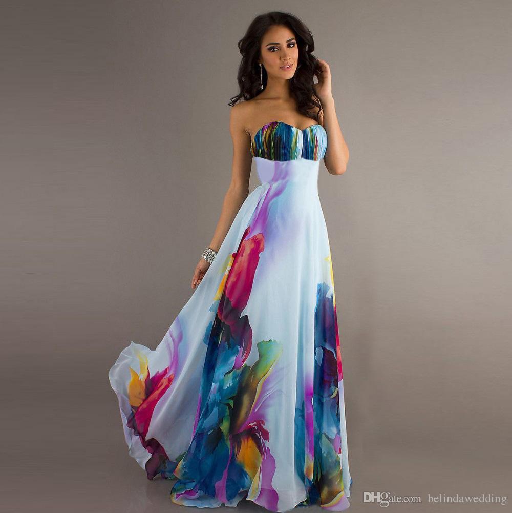 583a7b0654c46 Compre Vestidos Baratos Dama De Honor Largo 3 Diseños Sweethear Estampado  De Flores De Gasa Estampado Vestido De Noche Vestido De Fiesta Vestidos De  Baile ...