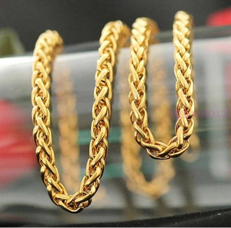 2020 6mm Gold Plated Braided Wheat Chain Stainless Steel