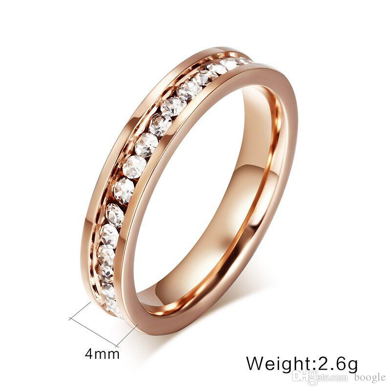 18K Rose Gold Plated Single Row Full Diamond Wedding Ring Female