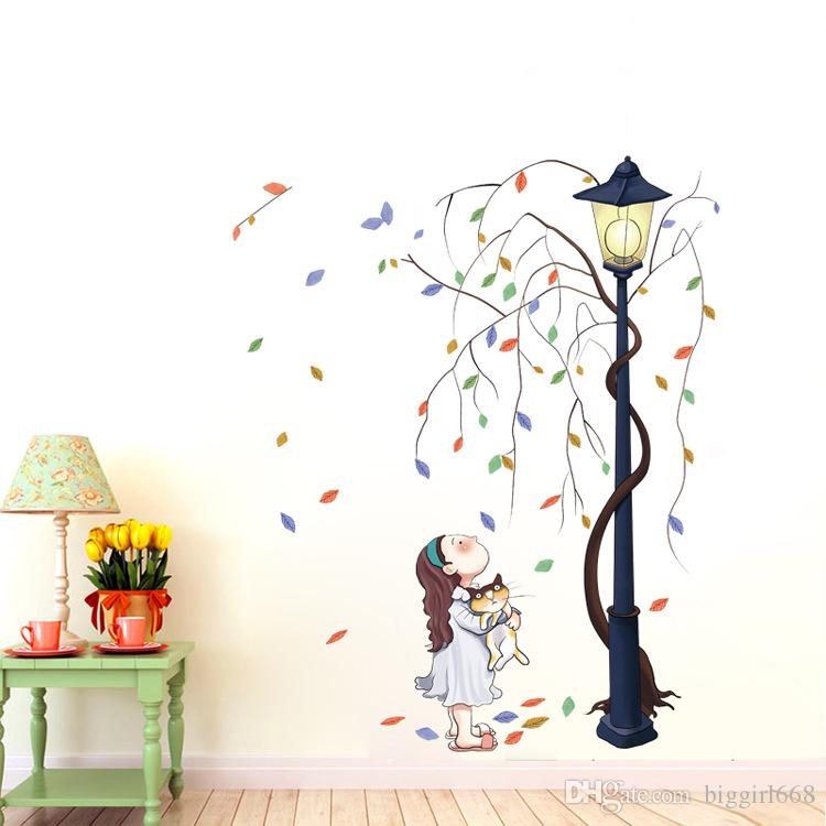 Removable Cute Girl Hug Cat Flower Tree Wall Stickers Nursery Wall - Wall decals baby room