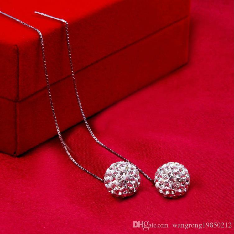 Shambhala ear earring brincos de arame Moda borla longo Cravejado com diamante bola de cristal pingente