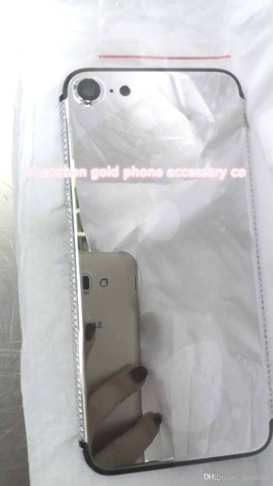 Real platinum Diamond Plating Back Housing Cover Skin Battery Door For iPhone 7 7+ Luxury 24k platinum housing for iphone 7