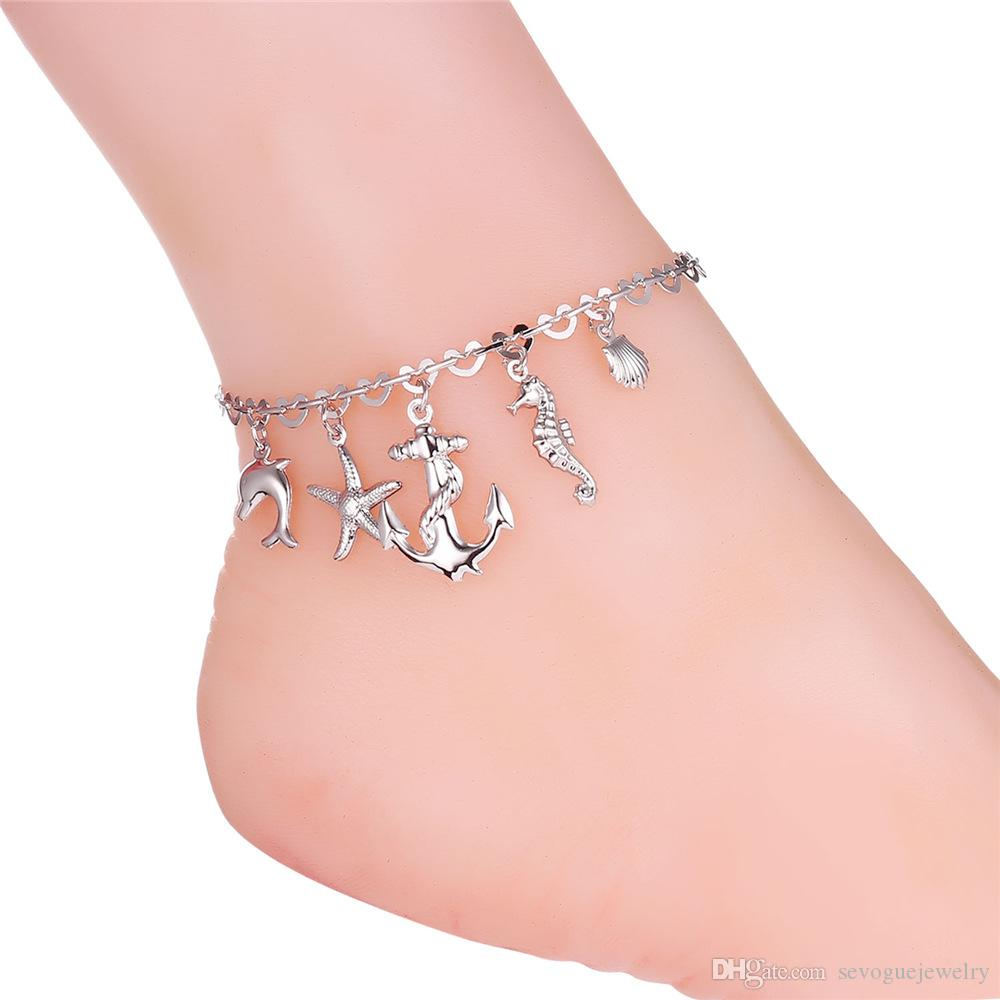 U7 Unisex Anklet Romantic Ocean Free Women/Men 18K Real Gold/Platinum Plated Foot Bracelet Fashion Cute Jewelry 7-A939