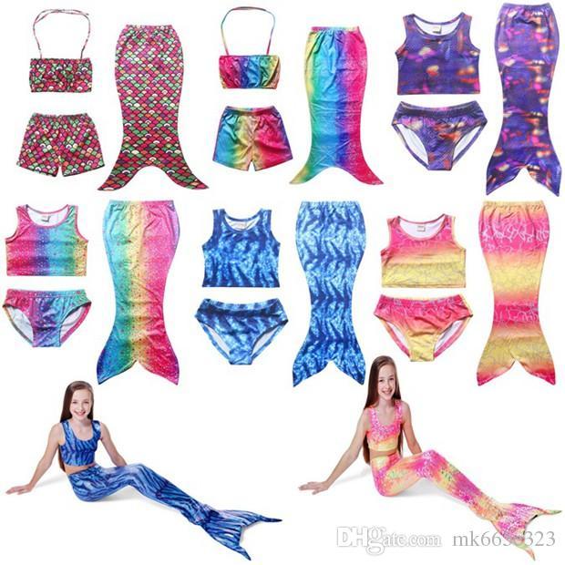 dbf940a45fe9d 2019 2018 Summer New Baby Girls Beach Mermaid Tail Swimwear Bikinis Cartoon   Sets Swimming Suit Swimsuit 4 8T Swim Clothing Wholesale From Mk665e323