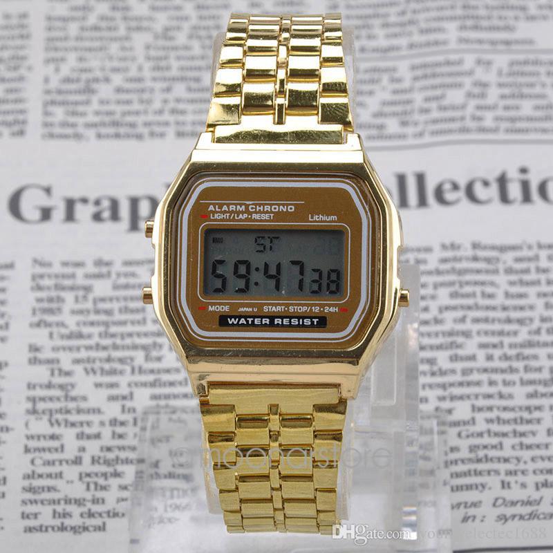 5130412ddaf Compre 2016 Mais Novo LED Relógio Digital Relógios Homens Relógio De Ouro  De Prata Dos Homens De Metal Em Aço Inoxidável Relógio Casual Relogio  Masculino De ...