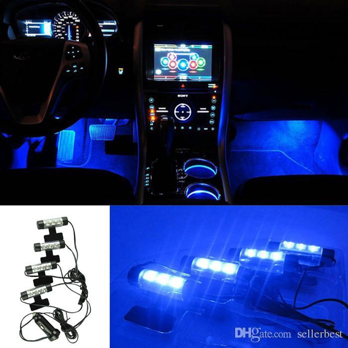 TY-780 3 LED Autoladung 12V 4W Glow Interior Dekorative 4 in 1 Atmosphäre Blaulicht Lampe Atmosphäre im Inneren Fuß Lampe 624