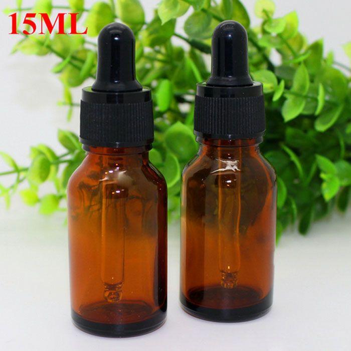 E Sok 15ml szklane butelki bursztynowe z szklanym kroplomierzem butelki kroplowej kroplomierza do E Liquid ECIG Oil 15ml z czarnymi czapkami