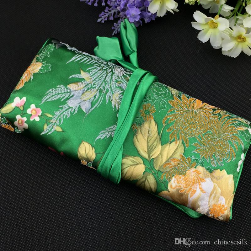 Duży ładny kwiat składany biżuteria Roll Up Torba Kosmetyczna Makeup Torba do przechowywania Sznurek Chiński Jedwab Brocade Wouch Torba 30 sztuk / partia
